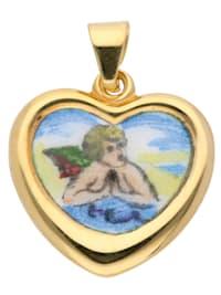 Damen Goldschmuck 585 Gold Anhänger Amor