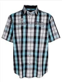Chemise à motif à carreaux tissé-teint