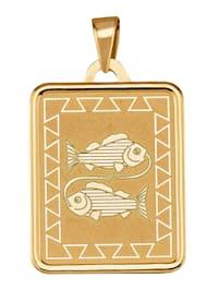 """Pendentif signe du zodiaque """"poissons"""" en or jaune 375"""