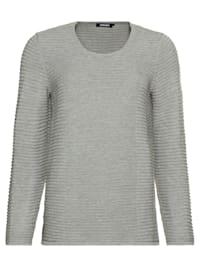 Pullover mit Karree-Ausschnitt und horizontaler Strickstruktur