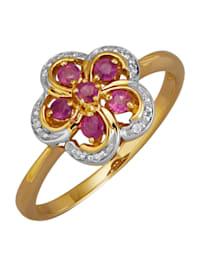 Damesring met robijnen en diamanten