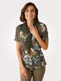 Shirt mit Plisseeschal