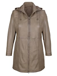 Kožená bunda s praktickou kapucňou