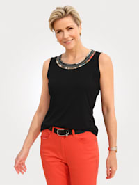 Top with mixed print piping