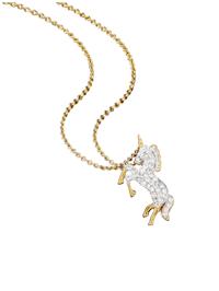 Einhorn-Anhänger mit Kette in Silber 925 vergoldet