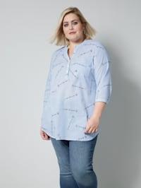 Tunika-Bluse gestreift mit Schriftzug-Print