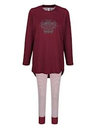 Schlafanzug mit Druckmotiv im Vorderteil