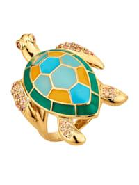 Schildkröten-Ring mit Emaille