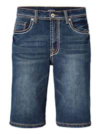 Džínsové bermudy s módnym hrubším šitím