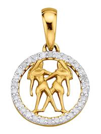 Sternzeichen-Anhänger mit Diamanten