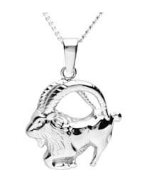 Kette mit Anhänger - Tierkreiszeichen Steinbock - Silber 925/000 - ,