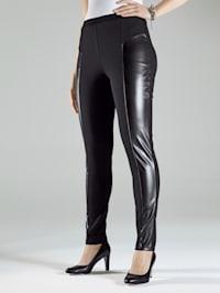 Jersey broek met inzetten van imitatieleer