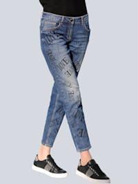 Jeans mit Schriftzüge-Print allover
