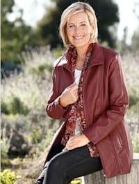 Lederimitat-Jacke mit streckenden Nähten