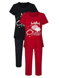 Pyjama's per 2 stuks met witte paspel langs de pijpen