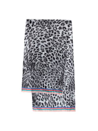 Crinkle-Schal aus reiner Seide mit Leo-Print