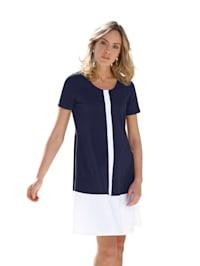 Jerseykleid mit Streifen in Kontrastfarbe
