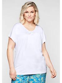 T-Shirt mit Knotendetail am V-Ausschnitt