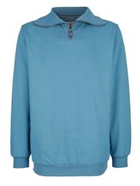 Sweatshirt mit geripptem Kragen