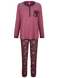 Schlafanzug mit kontrastfarbener Knopfleiste