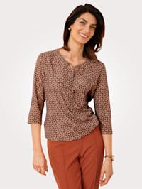 Pull-on blouse with tie neck