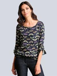 Bluse mit kontrastfarbigem Druck