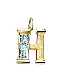 Damen & Herren Goldschmuck 585 Gold Buchstabenanhänger mit Diamant