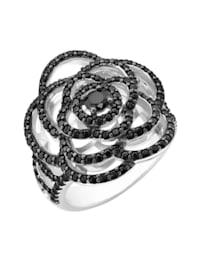 Ring Blüte mit schwarzen Zirkonia, Silber 925