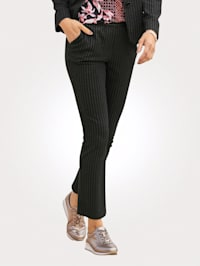 Jersey trousers with pinstripes