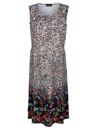 Klänning med leopardmönster och blommor