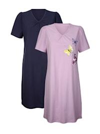 Nachthemden im 2er-Pack in schlichter Optik mit floralem Druckmotiv