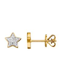 Stern-Ohrstecker mit Diamanten