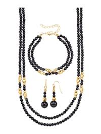 Halsband, armband & örhängen av obsidian