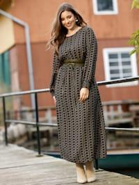 Maxi-jurk met gesmokte inzet