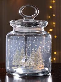 Glasburk med vintrigt stugmotiv, 1 liter