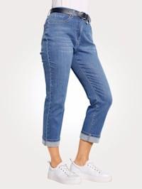 7/8-jeans med fasta uppvik i bensluten