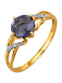 Ring med iolit och diamant