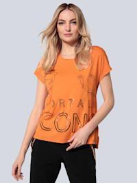 T-Shirt mit Foliendruck in Metallic-Optik