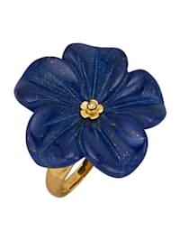 Ring med lapis lazuli-blomma