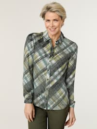Blouse with a bold check pattern