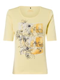 Rundhalsshirt mit Blumen-Motiv