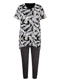 Pyžama s hravým zakončením do cípu