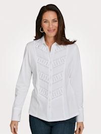 Jersey blouse met inzet van weefstof