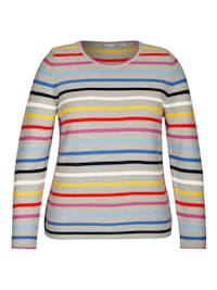 Pullover mit Streifen-Muster und Logoapplikation