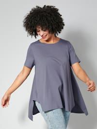Shirt met flatterende, puntige zoom