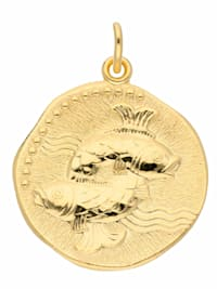 Damen & Herren Goldschmuck 333 Gold Sternzeichen Anhänger Fisch Ø 18,2 mm