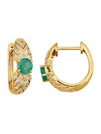 Örhängen med smaragd och safirer