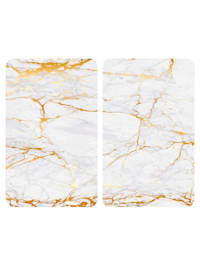 Spisskydd, 2 st. – marmorlook, guldfärgad