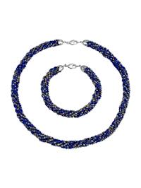 2tlg. Schmuck-Set aus blauen Glaskristallen