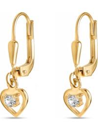 FAVS Mädchen-Ohrhänger 375er Gelbgold Glasstein